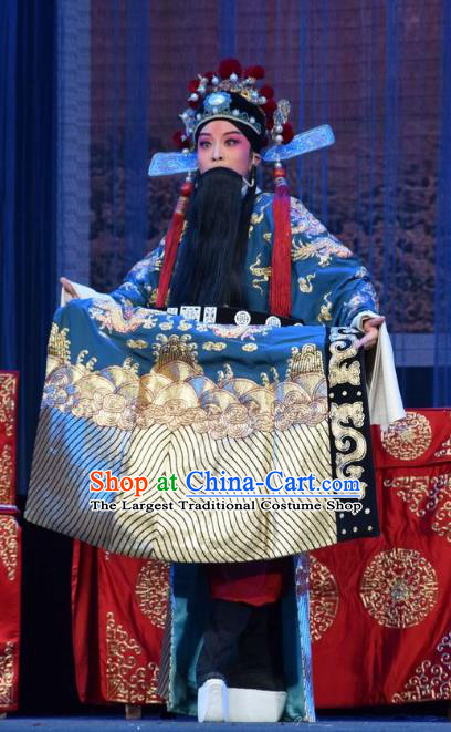 Tao Jin An Chinese Shanxi Opera Censor Han Liang Apparels Costumes and Headpieces Traditional Jin Opera Official Garment Elderly Male Clothing