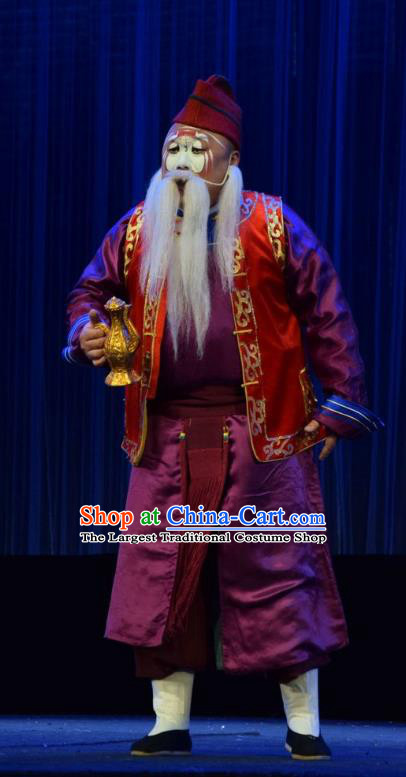 Tao Jin An Chinese Shanxi Opera Old Soldier Apparels Costumes and Headpieces Traditional Jin Opera Clown Garment Chou Role Clothing