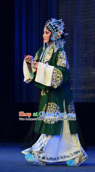 Chinese Jin Opera Hua Tan Garment Costumes and Headdress Tao Jin An Traditional Shanxi Opera Young Female Green Dress Actress Apparels