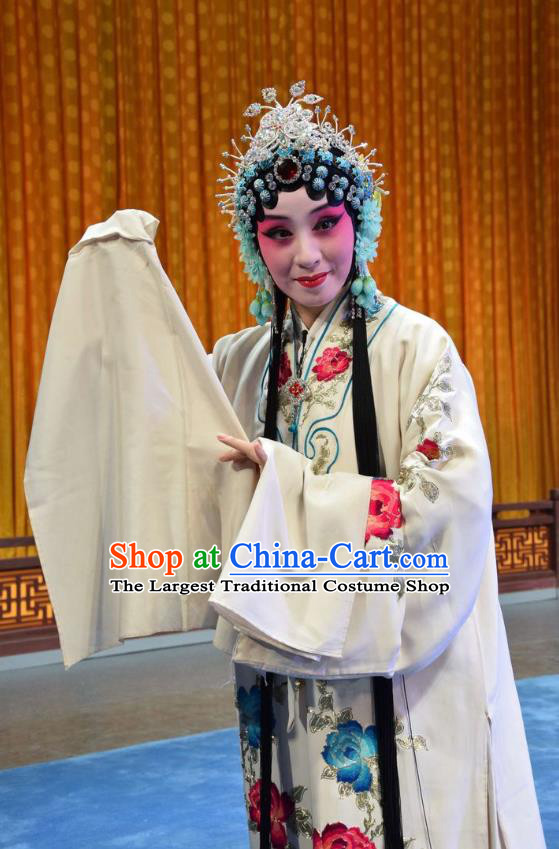 Chinese Jin Opera Hua Tan Bai Suzhen Garment Costumes and Headdress Madam White Snake Traditional Shanxi Opera Young Female White Dress Actress Apparels
