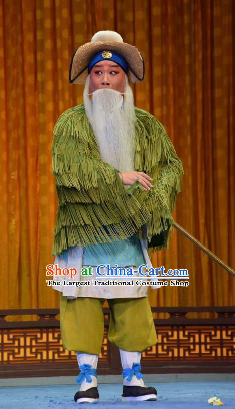 Madam White Snake Chinese Shanxi Opera Boatman Apparels Costumes and Headpieces Traditional Jin Opera Elderly Male Garment Laosheng Clothing