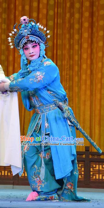 Chinese Jin Opera Martial Woman Garment Costumes and Headdress Madam White Snake Traditional Shanxi Opera Actress Dress Female Swordsman Xiao Qing Blue Apparels