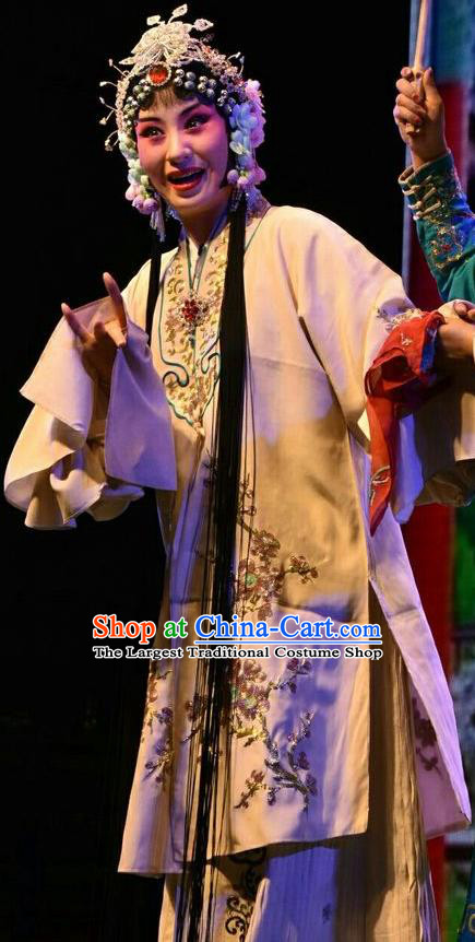 Chinese Jin Opera Young Woman Garment Costumes and Headdress Madam White Snake Traditional Shanxi Opera Actress Dress Mistress Bai Suzhen Apparels