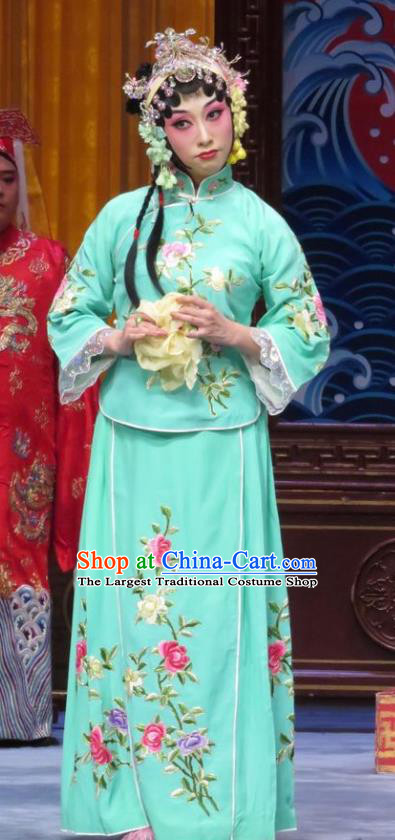 Chinese Hebei Clapper Opera Hua Tan Han Yujie Garment Costumes and Headdress The Story of Jade Bracelet Traditional Bangzi Opera Actress Green Dress Diva Apparels