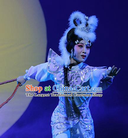 Chinese Hebei Clapper Opera Fairy Garment Costumes and Headdress The Legend of Tenjiku Traditional Bangzi Opera Actress Dress Diva Apparels