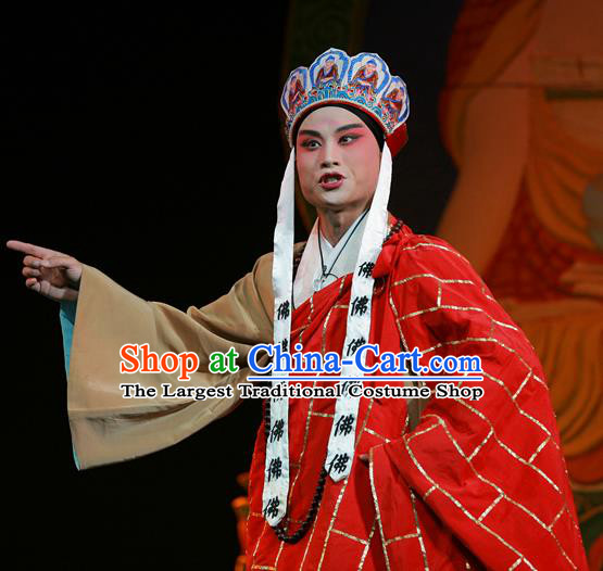 The Legend of Tenjiku Chinese Bangzi Opera Monk Tang Apparels Costumes and Headpieces Traditional Hebei Clapper Opera Young Male Garment Cassock Clothing