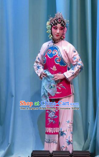 Chinese Hebei Clapper Opera Young Beauty Garment Costumes and Headdress Jin Yunu Traditional Bangzi Opera Hua Tan Dress Diva Rosy Apparels