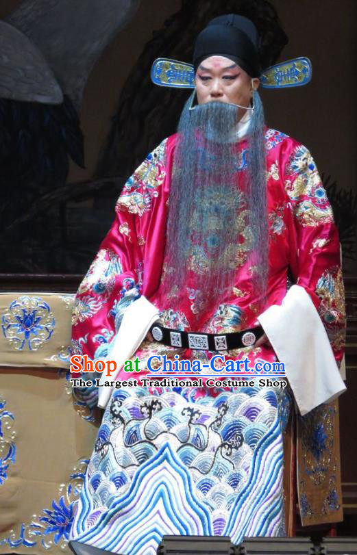 Jin Yunu Chinese Bangzi Opera Governor Lin Run Apparels Costumes and Headpieces Traditional Hebei Clapper Opera Elderly Male Garment Official Clothing