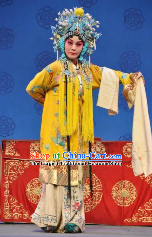 Chinese Shanxi Clapper Opera Princess Yin Ping Garment Costumes and Headdress Jin Shui Bridge Traditional Bangzi Opera Hua Tan Dress Apparels