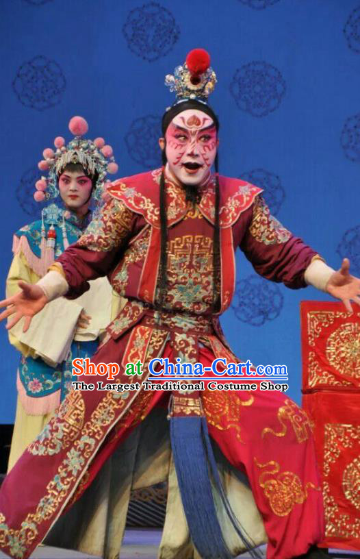 Jin Shui Bridge Chinese Bangzi Opera Swordsman Apparels Costumes and Headpieces Traditional Shanxi Clapper Opera Martial Male Garment Wusheng Qin Ying Clothing