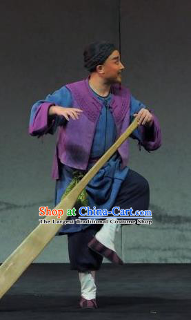 Yu Chenglong Chinese Shanxi Opera Boatman Apparels Costumes and Headpieces Traditional Jin Opera Garment Civilian Clothing
