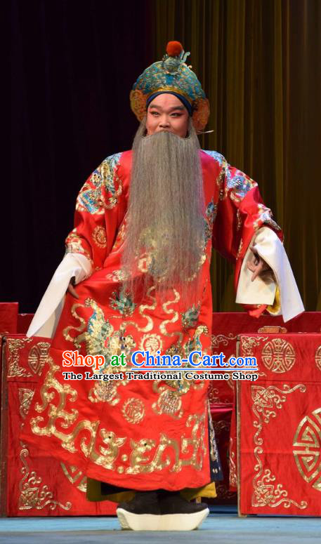 Da Jin Zhi Chinese Shanxi Opera Duke Guo Ziyi Apparels Costumes and Headpieces Traditional Jin Opera Elderly Male Garment Commander Clothing