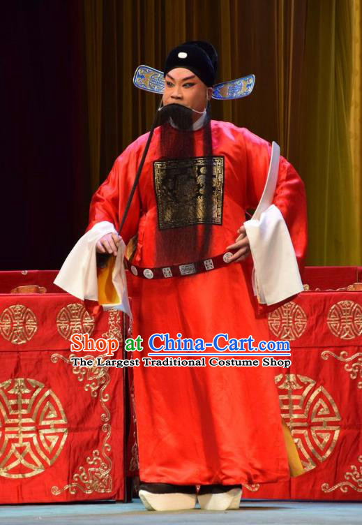 Da Jin Zhi Chinese Shanxi Opera Official Apparels Costumes and Headpieces Traditional Jin Opera Elderly Male Garment Laosheng Clothing