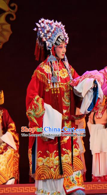 Chinese Jin Opera Bride Wedding Garment Costumes and Headdress Da Jin Zhi Traditional Shanxi Opera Hua Tan Red Dress Princess Shengping Apparels
