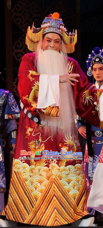 Da Jin Zhi Chinese Shanxi Opera Lord Apparels Costumes and Headpieces Traditional Jin Opera Elderly Male Garment Laosheng Clothing