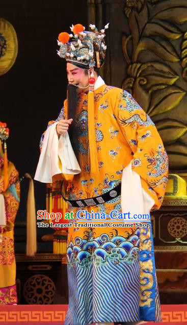 Da Jin Zhi Chinese Shanxi Opera Emperor Tang Apparels Costumes and Headpieces Traditional Jin Opera Laosheng Garment Monarch Clothing