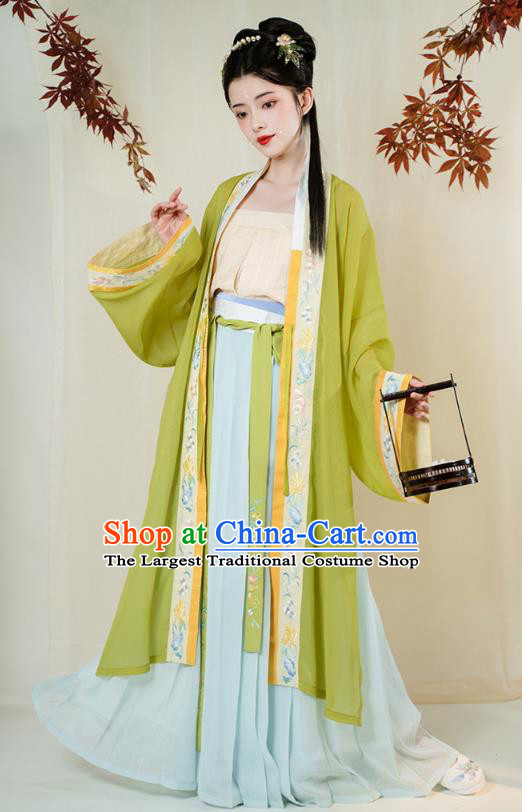 Chinese Ancient Song Dynasty Young Lady Embroidered Hanfu Dress Traditional Civilian Girl Apparels Historical Costumes Complete Set