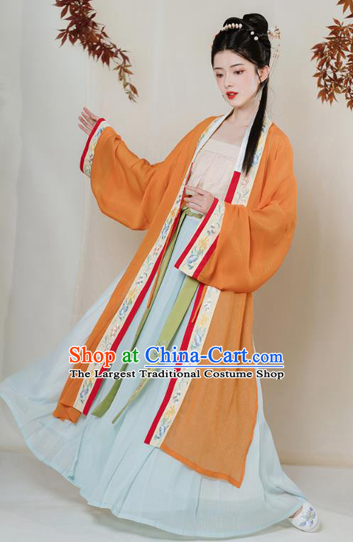 Chinese Song Dynasty Young Lady Embroidered Hanfu Dress Traditional Apparels Ancient Noble Girl Historical Costumes Complete Set for Women