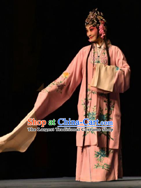 Chinese Jin Opera Rich Lady Red Garment Costumes and Headdress Wo Hu Ling Traditional Shanxi Opera Hua Tan Dress Actress Apparels