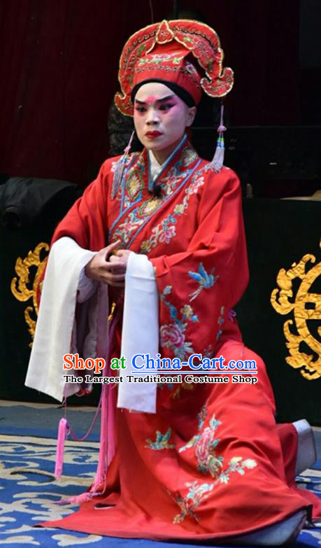 Wo Hu Ling Chinese Shanxi Opera Xiaosheng Apparels Costumes and Headpieces Traditional Jin Opera Scholar Gentleman Niche Red Robe Clothing