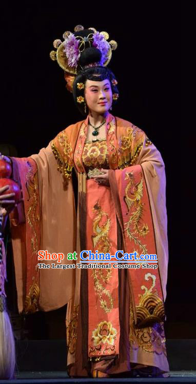 Chinese Jin Opera Queen Wang Garment Costumes and Headdress Madam Ruyi Traditional Shanxi Opera Noble Female Dress Empress Apparels