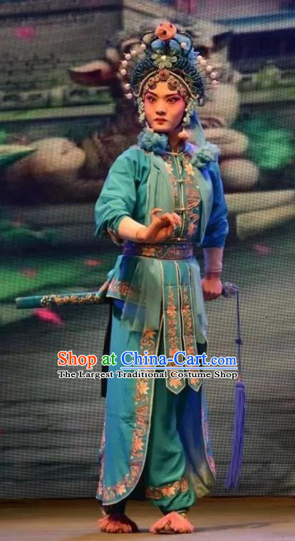 Chinese Jin Opera Female Swordsman Xiao Qing Garment Costumes and Headdress Madam White Snake Traditional Shanxi Opera Wudan Dress Martial Woman Apparels