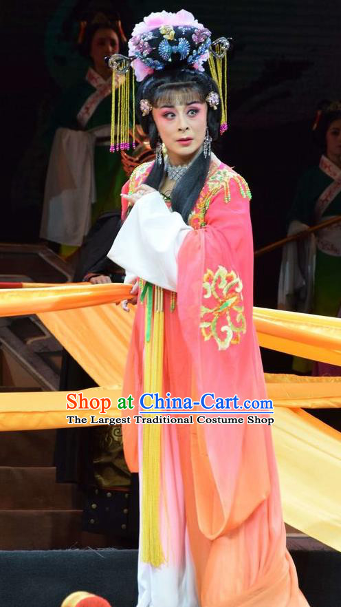 Chinese Jin Opera Palace Lady Wu Meiniang Garment Costumes and Headdress Madam Ruyi Traditional Shanxi Opera Noble Female Dress Imperial Consort Apparels