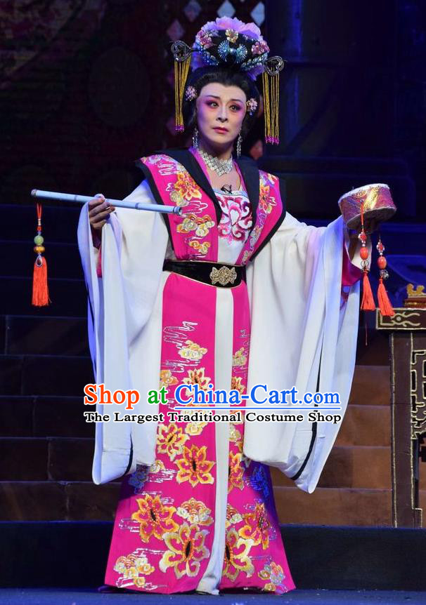 Chinese Jin Opera Imperial Consort Wu Meiniang Garment Costumes and Headdress Madam Ruyi Traditional Shanxi Opera Noble Female Dress Hua Tan Apparels