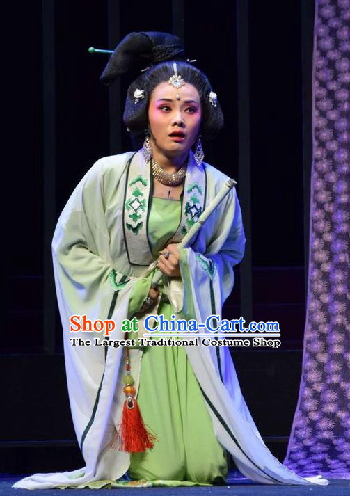 Chinese Jin Opera Noble Consort Xiao Garment Costumes and Headdress Madam Ruyi Traditional Shanxi Opera Court Lady Dress Distress Female Apparels
