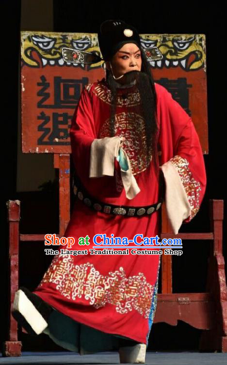 Wo Hu Ling Chinese Shanxi Opera Elderly Male Apparels Costumes and Headpieces Traditional Jin Opera Official Garment Magistrate Dong Xuan Clothing