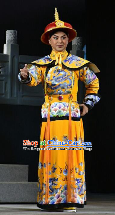 Xiaozhuang Changge Chinese Shanxi Opera Monarch Kang Xi Apparels Costumes and Headpieces Traditional Jin Opera Young Male Garment Emperor Clothing