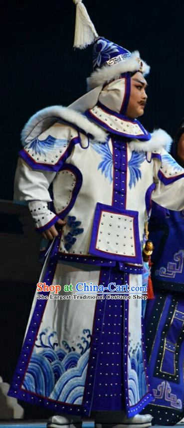 Xiaozhuang Changge Chinese Shanxi Opera General Apparels Costumes and Headpieces Traditional Jin Opera Warrior Garment Qing Dynasty Soldier White Armor Clothing