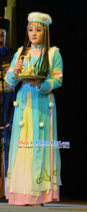 Chinese Jin Opera Mongolian Maidservant Garment Costumes and Headdress Xiaozhuang Changge Traditional Shanxi Opera Qing Dynasty Palace Lady Dress Figurant Apparels