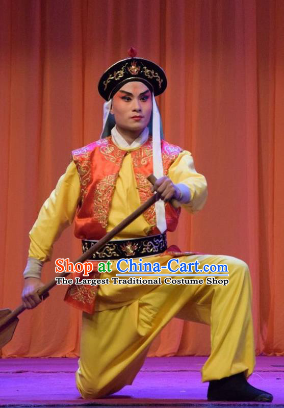 Han Yang Court Chinese Shanxi Opera Young Warrior Apparels Costumes and Headpieces Traditional Jin Opera Wusheng Garment Soldier Clothing