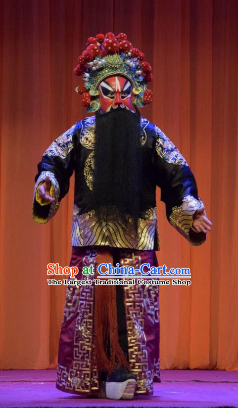 Han Yang Court Chinese Shanxi Opera Painted Role Apparels Costumes and Headpieces Traditional Jin Opera General Garment Jing Clothing