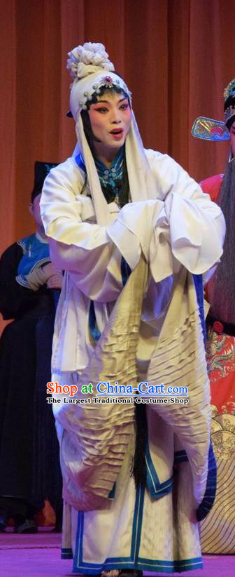 Chinese Jin Opera Distress Maiden Garment Costumes and Headdress Han Yang Court Traditional Shanxi Opera Village Girl Dress Fisher Female Apparels