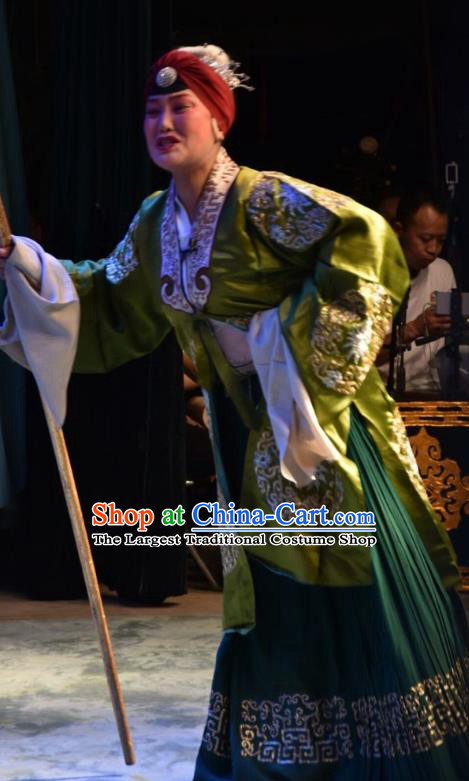 Chinese Jin Opera Pantaloon Garment Costumes and Headdress Han Yang Court Traditional Shanxi Opera Elderly Female Green Dress Noble Dame Apparels
