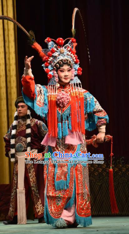 Chinese Jin Opera Female Warrior Garment Costumes and Headdress Jin Sha Tan Traditional Shanxi Opera Soldier Dress Martial Woman Apparels