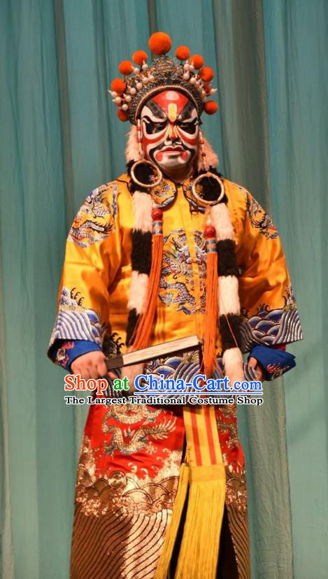 Jin Sha Tan Chinese Shanxi Opera King Apparels Costumes and Headpieces Traditional Jin Opera Jing Role Garment Lord Clothing