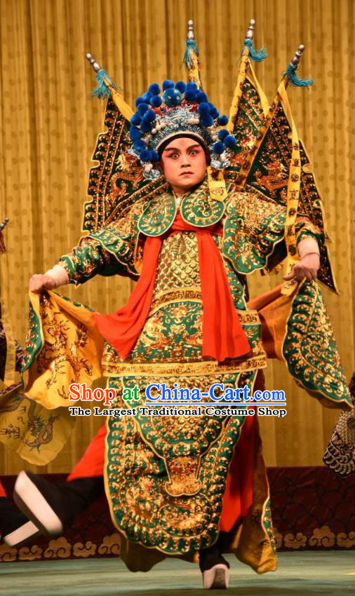 Jin Sha Tan Chinese Shanxi Opera Martial Male Armor Apparels Costumes and Headpieces Traditional Jin Opera General Garment Green Kao Clothing with Flags