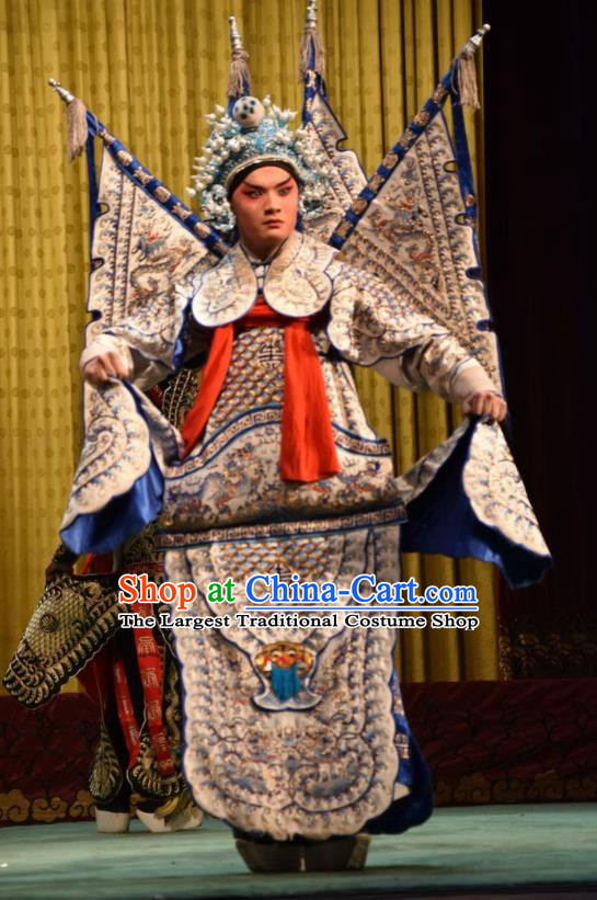 Jin Sha Tan Chinese Shanxi Opera Martial Male Armor Apparels Costumes and Headpieces Traditional Jin Opera General Garment White Kao Clothing with Flags