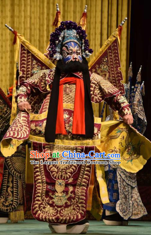 Jin Sha Tan Chinese Shanxi Opera Martial Male Armor Apparels Costumes and Headpieces Traditional Jin Opera General Garment Purplish Red Kao Clothing with Flags