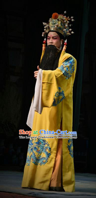 Chinese Shanxi Opera Emperor Zhu Yuanzhang Apparels Costumes and Headpieces Traditional Jin Opera Monarch Garment Laosheng Clothing