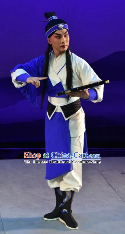 Xiong Guan Niang Zi Chinese Shanxi Opera Xiaosheng Apparels Costumes and Headpieces Traditional Jin Opera Young Male Garment Swordsman Clothing