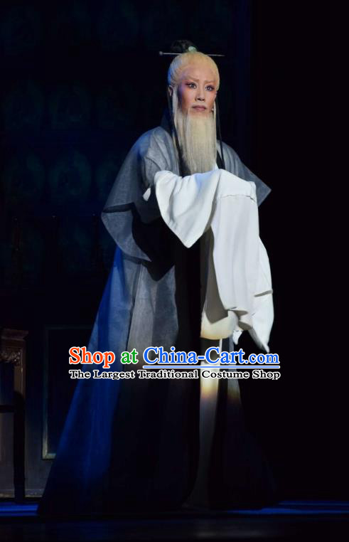 Fu Shan Jin Jing Chinese Shanxi Opera Laosheng Scholar Apparels Costumes and Headpieces Traditional Jin Opera Elderly Male Garment Clothing