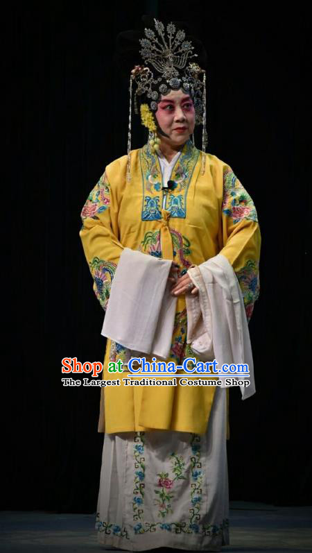 Chinese Jin Opera Queen Ma Luanying Garment Costumes and Headdress Traditional Shanxi Opera Court Woman Dress Empress Yellow Apparels