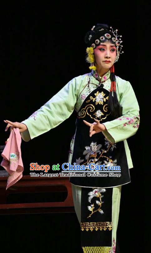 Chinese Jin Opera Village Girl Su Wujuan Garment Costumes and Headdress Fifteen Strings of Cash Traditional Shanxi Opera Young Lady Dress Xiaodan Apparels