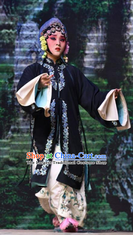 Chinese Jin Opera Distress Maiden Garment Costumes and Headdress Fifteen Strings of Cash Traditional Shanxi Opera Young Lady Dress Village Girl Su Wujuan Apparels