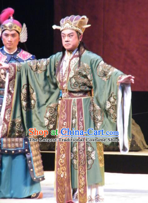 Wu Zetian Chinese Shanxi Opera Crown Prince Apparels Costumes and Headpieces Traditional Jin Opera Xiaosheng Garment Tang Dynasty Young Male Clothing