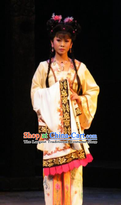 Chinese Jin Opera Maidservant Garment Costumes and Headdress Wu Zetian Traditional Shanxi Opera Servant Girl Dress Young Lady Apparels